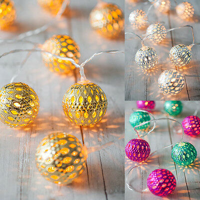 Gold, Silver Or Pink & Teal  Battery Operated Moroccan Orb LED Fairy Lights