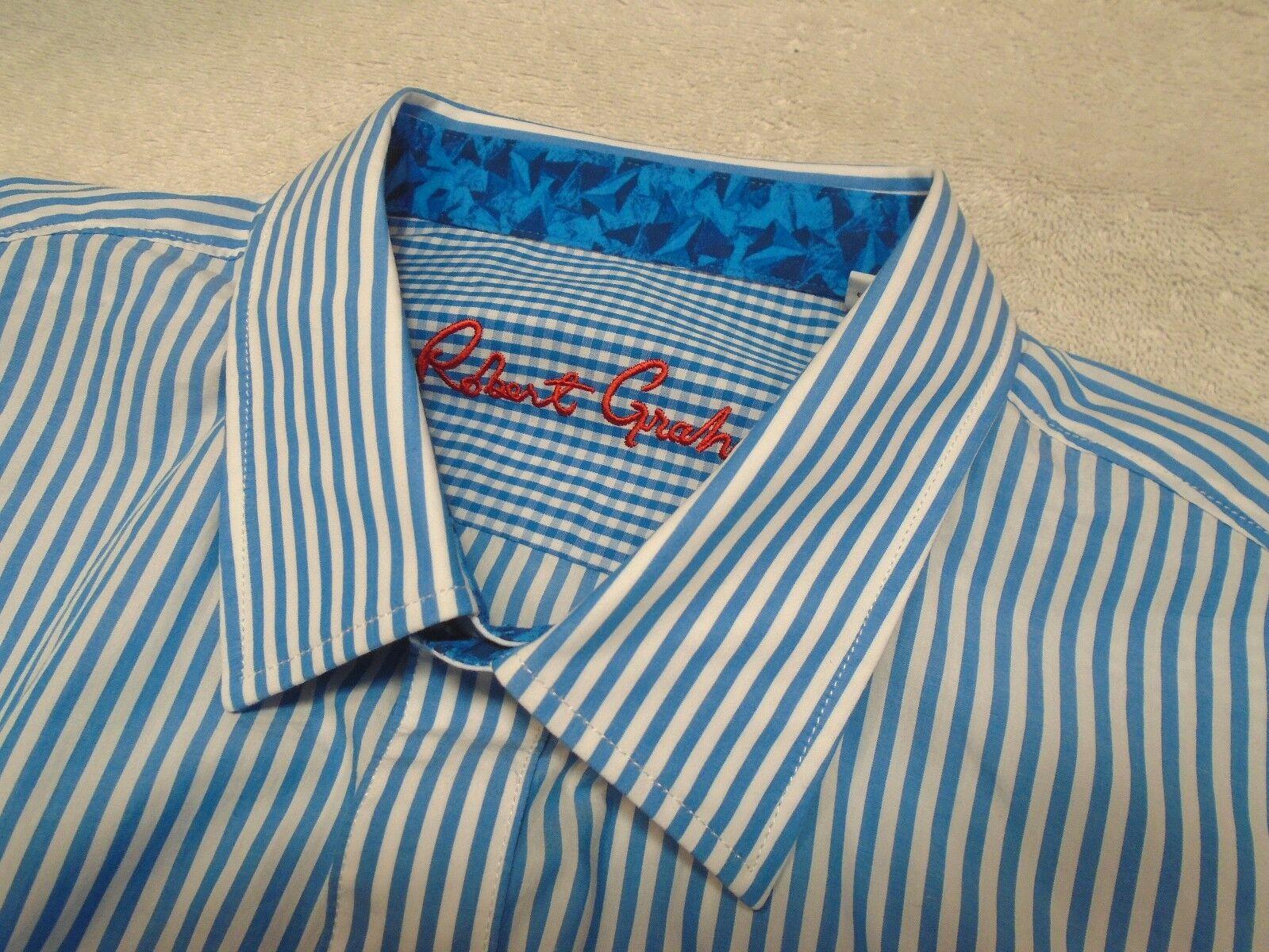Robert Graham Benedetto bluee & White Striped Sport Shirt NWT  XL