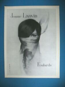PUBLICITE-DE-PRESSE-JEANNE-LANVIN-FOULARDS-FRENCH-AD-1965