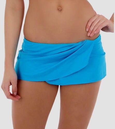NEW La Blanca solid turquoise blue swim skirt swimsuit bottom  women sz 8