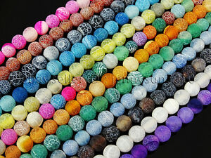 Colorful-Matte-Fire-Crackle-Agate-Gemstones-Round-Beads-15-034-4mm-6mm-8mm-10mm