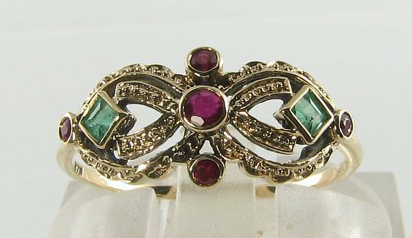 LUSH 9K 9CT gold INDIAN RUBY EMERALD ART DECO INS MASK RING FREE RESIZE