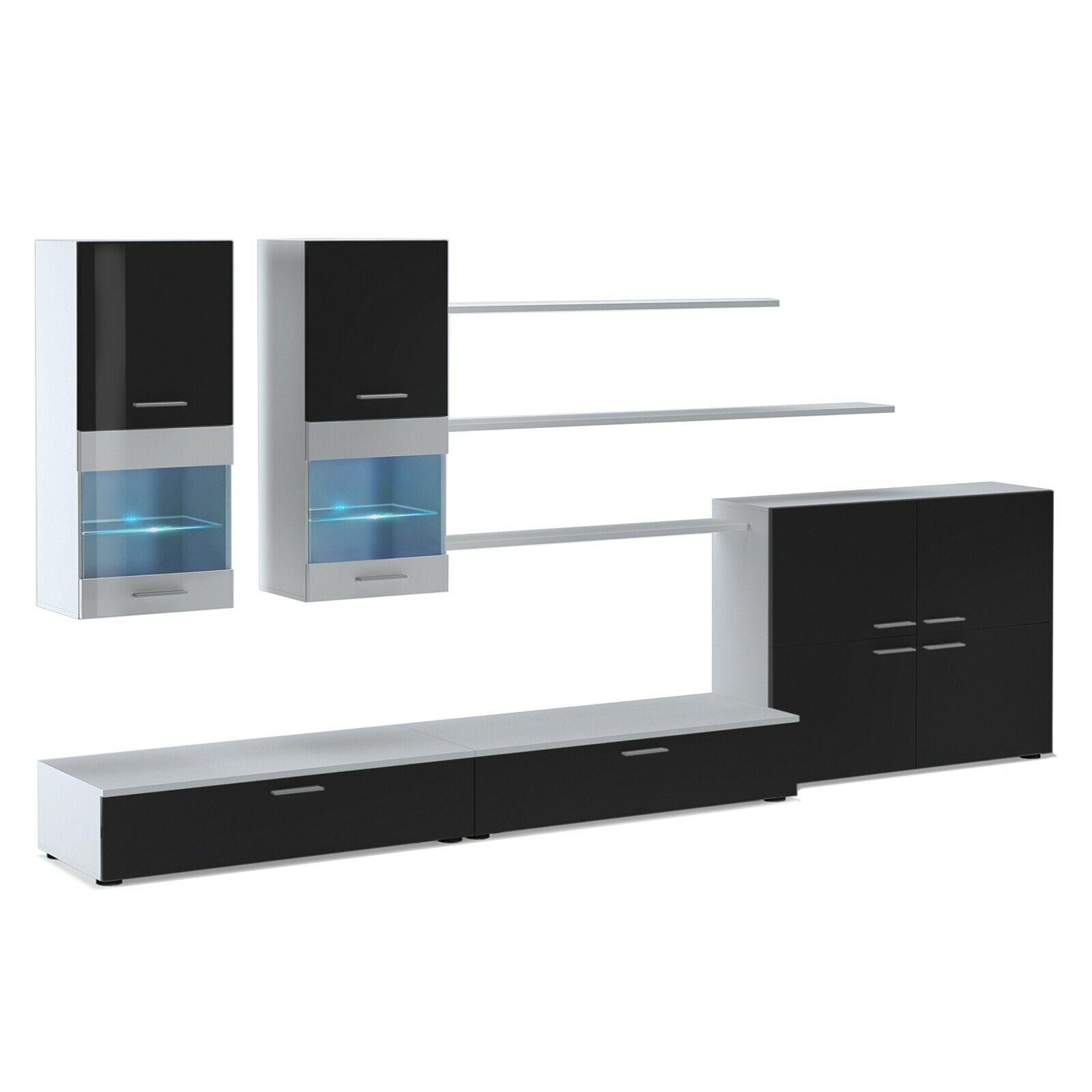 Mueble de comedor moderno, salón con luces Leds, color Negro Brillo y...