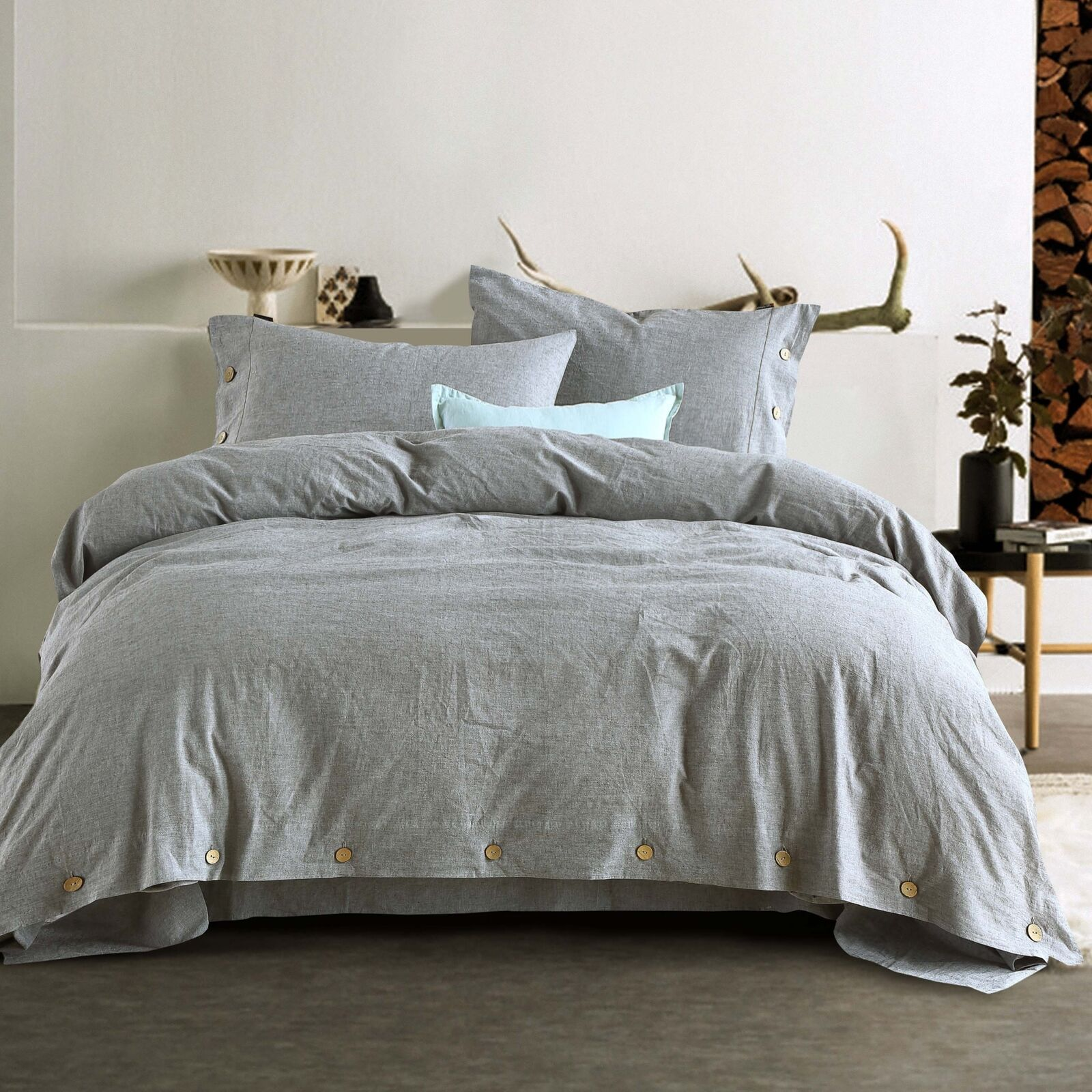 Linen Duvet Cover Pillowcases King Queen Twin Cotton Flax Bedding Set US Size Y1