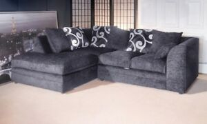 Details About Brand New Zinc Chenille Grey Fabric Corner Sofa Pattern Cushion