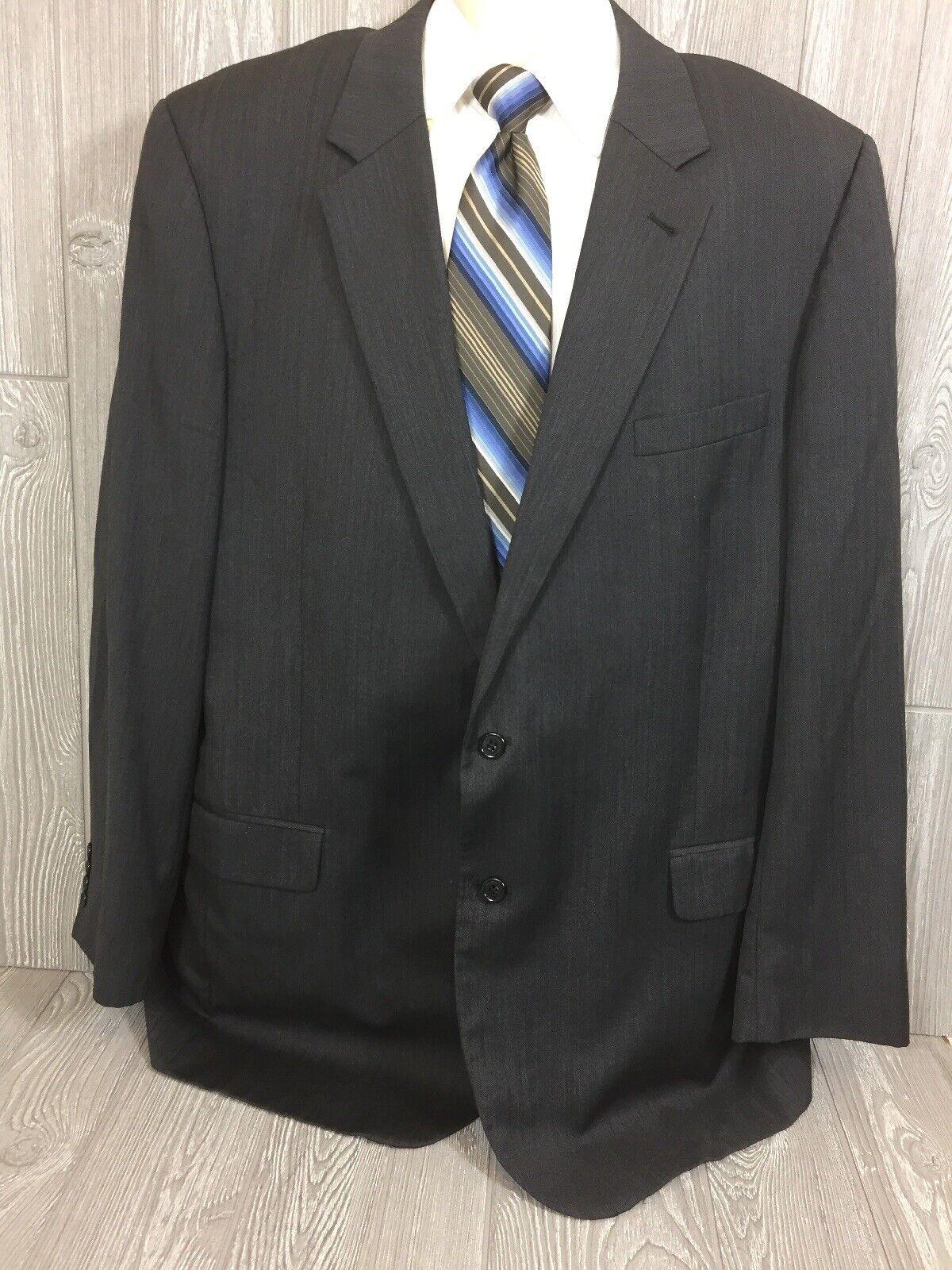Jos A Bank Mens Grey Herringbone Wool 2 Button Sport Coat 50XL X-Long (tt)