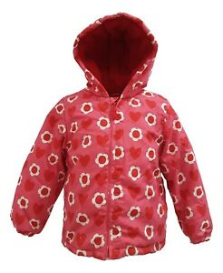 Girls Coat Padded Fleece Lined Polka Spots Hooded Anorak 6 Months to 3 Years
