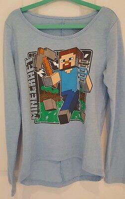 7//8 Girls Size 4//5 6//6X OR 10//12 Minecraft Blue Vintage Steve Shirt NWT