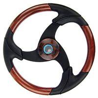 Marine Boat Steering Wheel Wood Leather Pontoon Aluminum Spoke Black Grip 13.5
