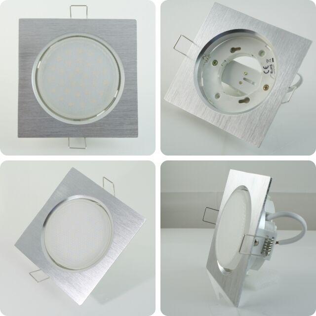 1-20x 6W LED Einbaustrahler flach Einbauleuchte Alu eckig Einbauspot GX53 230V