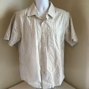 The-North-Face-Men-Button-Front-Beige-Check-Short-Sleeve-Shirt-100-Cotton-Large