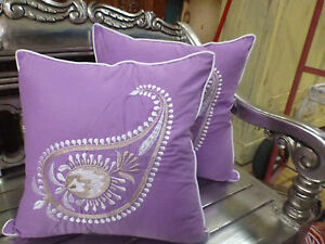 Cotton-Cushion-Covers-Purple-White-Hand-Made-Paisley-Embroidery-pair-40cm