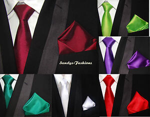 TOP-amp-FAVORABLE-Corbatas-Panuelo-de-bolsillo-SET-Boda-8cm-en-30-Color