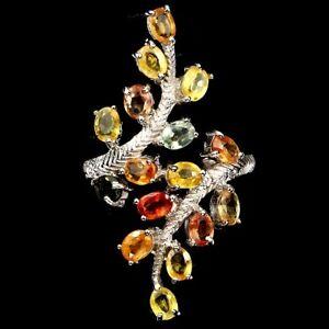 Ring-Saphir-gelb-orange-rot-gruen-925-Silber-585-Weissgold-Gr-54