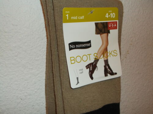 4-10 NEW NO NONSENSE LADY/'S PAIR BRITISH KHAKI of MID CALF BOOT SOCKS ...SZ.