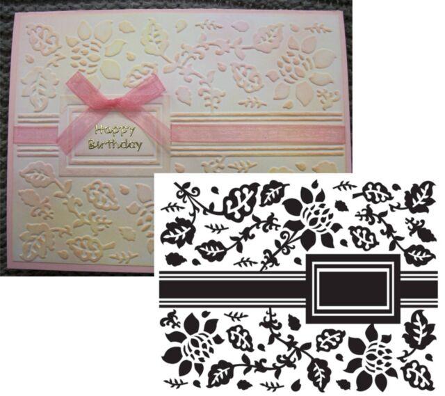 Floral Frame Embossing Folder Crafts Too Folders CTFD3047 Leaves Square Border