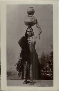 India-Native-Woman-Costume-Maid-Water-Carrier-c1910-Real-Photo-Postcard-dcn