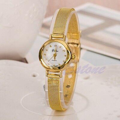 Luxury Women Stainless Steel Mesh Gold Band Thin Strap Dial Quartz Wrist Watch