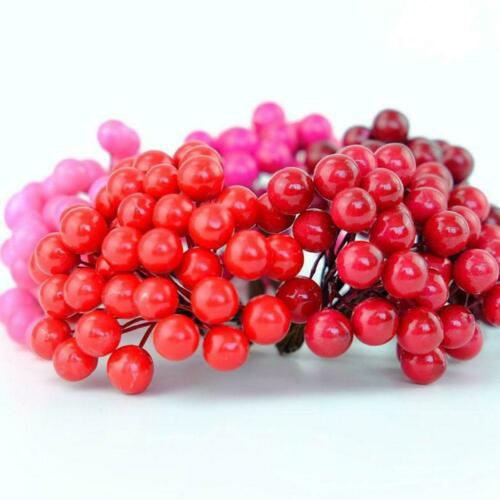 40x Mini Christmas Foam Frosted Fruit Artificial Holly Berry Flower Home Decors