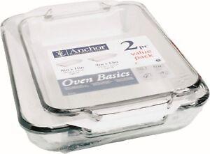 Anchor-Hocking-Glass-Oven-Roasting-Casserole-Lasagne-Dish-Tray-Set