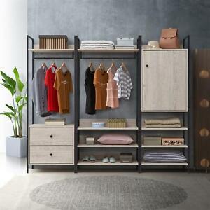 Zahra 3 Piece Bedroom Furniture Set Open Wardrobe Drawers Cabinet Ash Oak