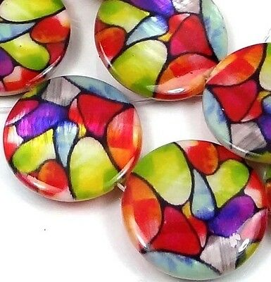 """20mm Colorful Mosaic Mother Of  Pearl Coin Disc Beads 16"""""""