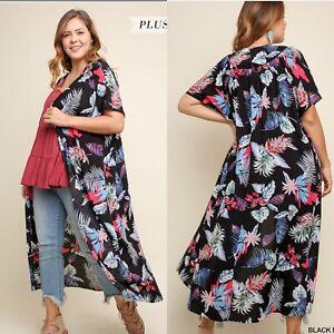New UMGEE Open Front Kimono Cardigan Duster Boho Print Flower Long Size XL