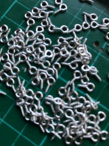 Piccola piccola mini Eye pins Hooks Occhielli a vite filettato Argento 10mm 100 PZ
