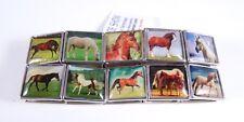 New 2 Piece Lot of Metal Tile Slide Show Bracelets with Horse Theme #B1305-2PC