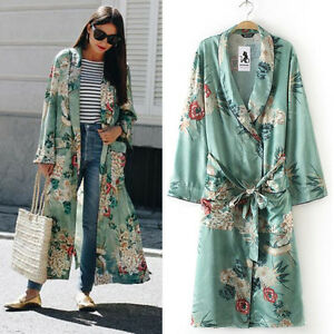 Women-Ladies-Long-Maxi-Cardigan-Kimono-Loose-Shawl-Open-Front-Trench-Coat-NEW
