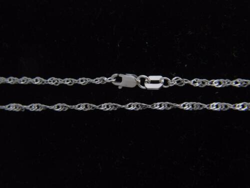 Real 14K White Gold 2mm Rope Chain Necklace real gold with lobster Clasp