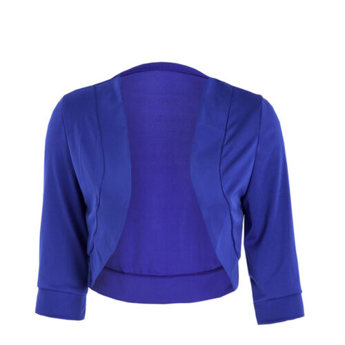 Women/'s 3//4 Sleeve Open Front Cropped Evening Shrug Bolero Top Cardigan Jacket