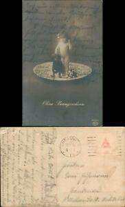 Ansichtskarte-Ohne-Bezugsschein-kleines-Maedchen-u-Hund-1917