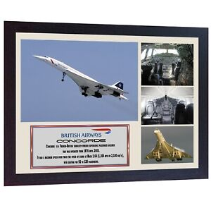 Concorde-British-Airways-Passenger-Jet-aviation-flying-Memorabilia-photo-FRAMED