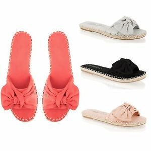 eb6d2d155 Image is loading Womens-Ladies-Sliders-Flat-Espadrille-Bow-Slides-Summer-
