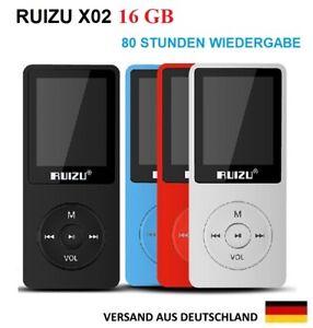 MP3 Player,16 GB,80 Stunden Wiedergabe,FM Radio, Headset,Musik RUIZU X02