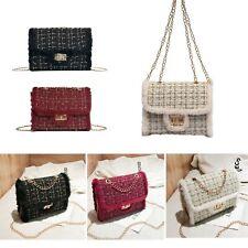 Womens Small Crossbody Purse Bag Handbag Clutch Satchel Gold Chain Faux Fur Trim