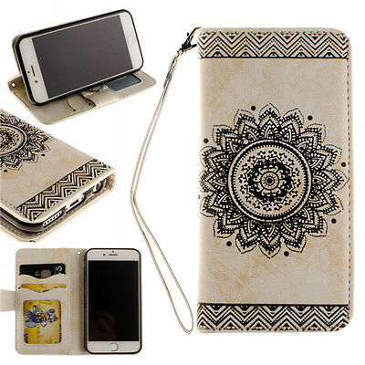 Flip  Mandala Pattern Leather Card Slot Wallet Strap Stand Case Cover For Phone