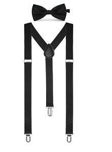 da29f4a51c1 Solid Color Mens Suspender Bow Tie Set Clip On Y Shape Adjustable ...