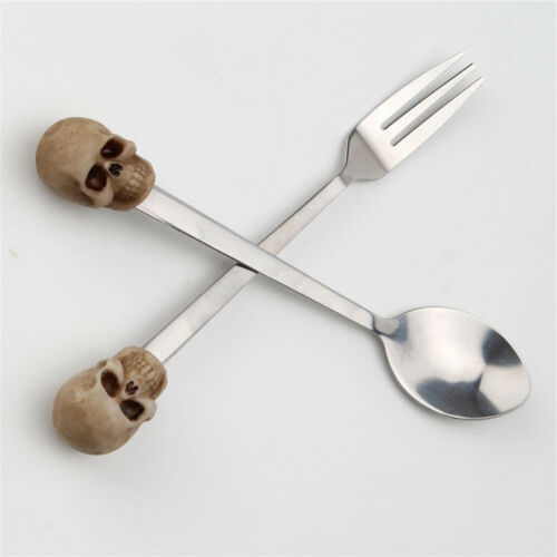 Skull Skeleton Fork Spoon Set Stainless Gift for Housewarming Christmas