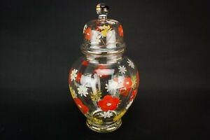 1950-Glass-Jar-amp-Lid-Red-Flowers-Decorative-Storage-Barrel-Vintage-Retro-Mid-Cen