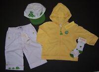 Gymboree Turtle Crossing 12-18 Months Yellow Hoodie White Pants Hat & Socks