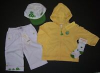 Gymboree Turtle Crossing 12-18 Months Yellow Hoodie White Pants Hat & Socks
