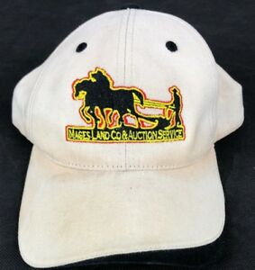 2bd2e09b3c2 Vintage Mages Land CO  Auction Trucker Hat Strap Back Hat Baseball ...