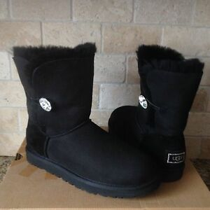 506fce29e4 UGG Classic Short Bailey Button Bling Black Suede Fur Boots Size US ...