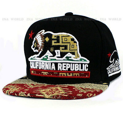 CALIFORNIA Republic hat cap BEAR Snapback Suede Flat bill Baseball cap Red