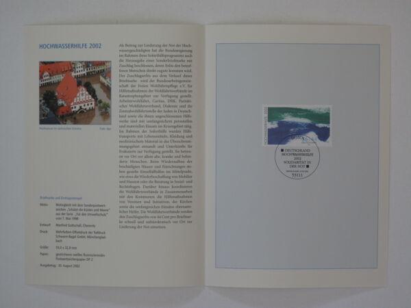 (02j34) Fédéral Journal De Souvenir 2002 Avec Esst Mi.n ° 2278 Hochwasserhilfe Finement Traité
