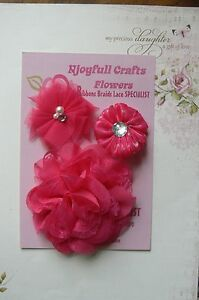 HANDMADE-3-Flower-Mix-FUCHSIA-PINK-Organza-Lace-50-65-amp-95mm-Njoyfull-Crafts