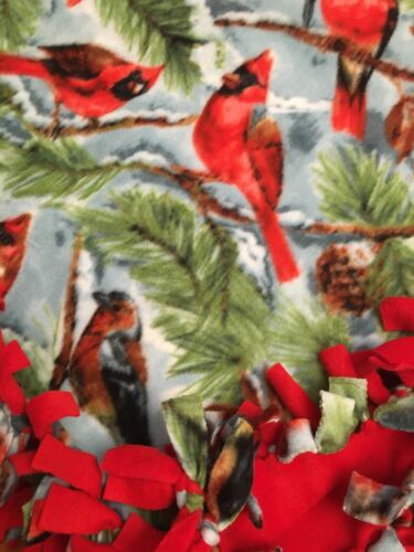 Handmade FLEECE TIE-BLANKET Cardinal Birds Animal Nature Holiday 58X54-2 layer
