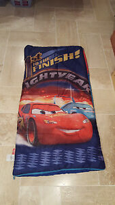 Details About Disney Cars Lightning Mcqueen 1st To The Finish Blue Toddler Child Sleeping Bag